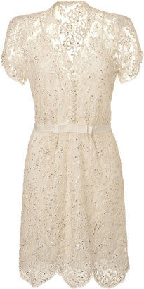 Jenny Packham Ivory Sequin Lace Dress