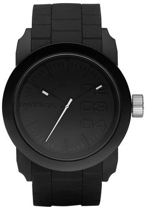 Diesel 'Double Down' Round Silicone Strap Watch, 44mm