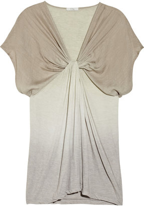 Clu Silk-trimmed ombré jersey top