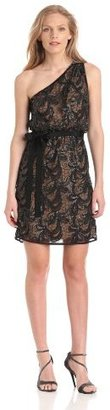 Vince Camuto Women's One-Shoulder Dress with Leather Detail