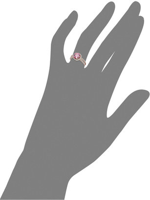 Swarovski Pink Cubic Zirconia Ring in 14k Rose Gold over Sterling Silver