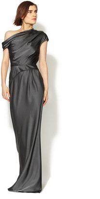 Vera Wang Draped Asymmetrical Silk Gown