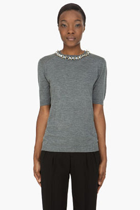 Marni Grey Crystal-Studded Collar Cashmere Sweater