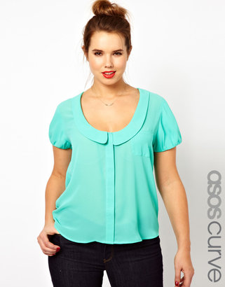 Asos Blouse With Peter Pan Collar And Balloon Sleeve