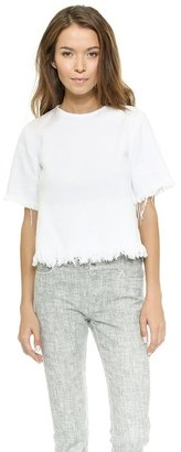 Alexander Wang Crewneck Crop Top with Frayed Hem