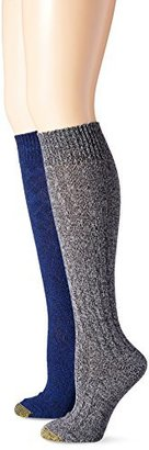 Gold Toe Women's Argyle Wool Texture Knee High Dress Socks (Pack of 2)