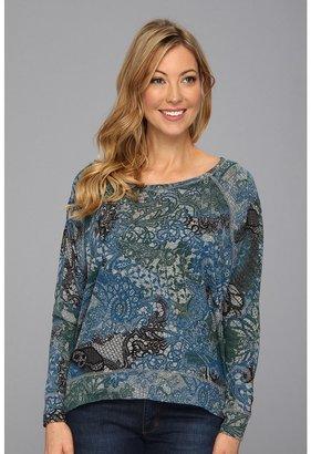 DKNY Tatoo Lace Print Pullover (Smoke Grey Heather) - Apparel