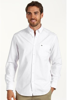Lacoste L/S Regular Fit Button Down Oxford Woven Shirt (White) - Apparel