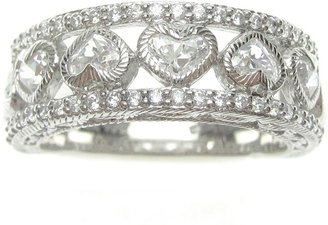 Judith Ripka Sterling Diamonique Hearts Band Ring
