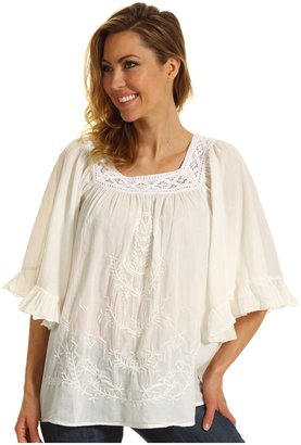 Roper Blue Belle Group Peasant Blouse in Soft Cotton Lawn with Cluny Lace (White) - Apparel