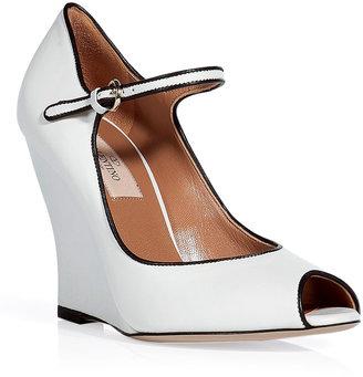 Valentino White peep-toe wedge pumps
