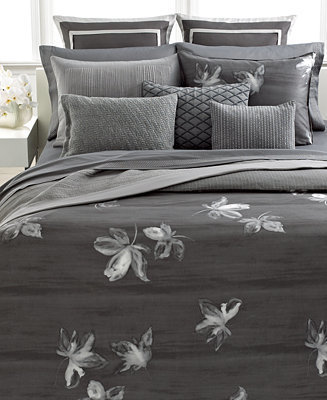 Vera Wang Bedding, Charcoal Flower Queen Duvet Cover