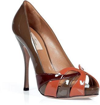Valentino Nougat and Aragon patent leather peep-toe pumps