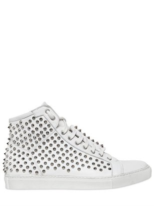 Giacomorelli 20mm Leather Studded High Sneakers