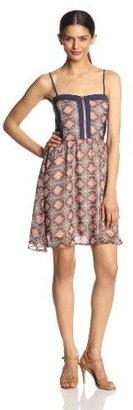 Miss Me Fitted Bodice Printed Fit and Flare Dress