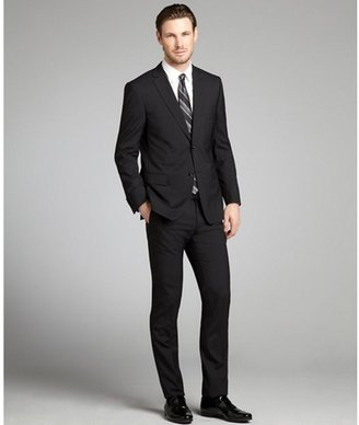 Z Zegna black striped wool two-button suit with flat front pants
