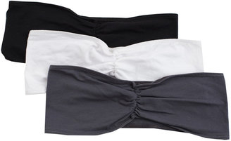 American Apparel Cotton Spandex Ruched Front Tube Bra (3-Pack)