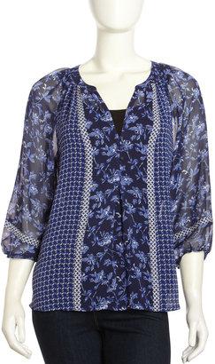 Joie Gloria Print Silk Blouse, Nile Blue