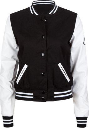 Ashley Faux Leather Sleeve Womens Varsity Jacket