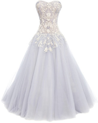 Marchesa Metallic Floral Tulle Ball Gown