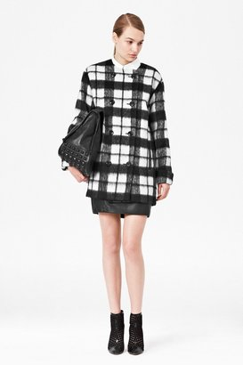 French Connection Checked Bunny Coat