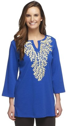 Factory Quacker Living Coral Pastel Embroidered Tunic