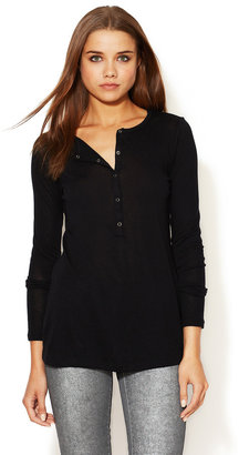 L'Agence Snap Front Henley Tee