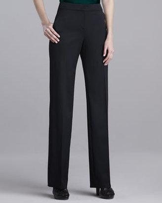 St. John Shelley Stretch-Wool Pants, Caviar