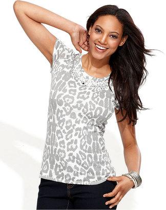INC International Concepts Petite Sweater, Cap-Sleeve Animal-Print Rhinestone