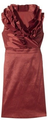 Women's Shantung V-Neck Ruffle Dress - Limited Availability Colors
