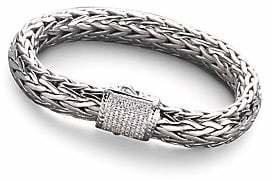 John Hardy Classic Chain Diamond, Sterling Silver & 18K White Gold Large Bracelet