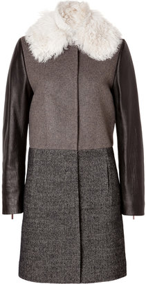 Cédric Charlier Wool Patchwork Coat with Leather Sleeves