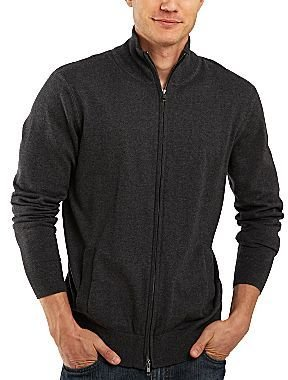 JCPenney jcpTM Cotton/Cashmere Zip-Front Cardigan Sweater