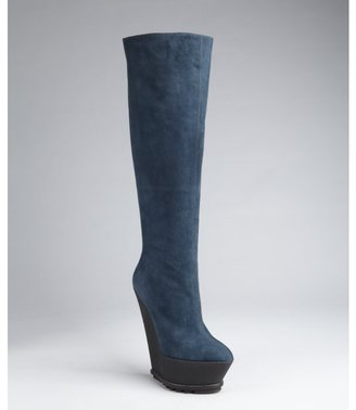 Giuseppe Zanotti cadet suede tall rubber wedge boots