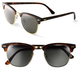 Women's Ray-Ban 'Clubmaster' 49Mm Sunglasses - Tortoise/ Gold $150 thestylecure.com
