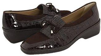 ara Rachel (Black Nubuk/Croco) Women's Slip on Shoes
