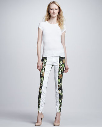 7 For All Mankind Skinny Pieced White Jeans