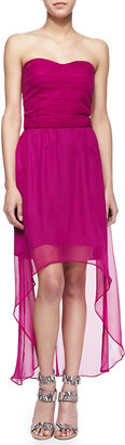 Neiman Marcus Cusp by Georgia Strapless Silk High-Low Dress, Bright Plum