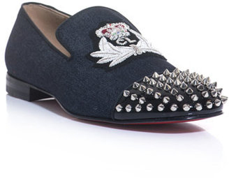 Christian Louboutin Haravanna denim studded loafers