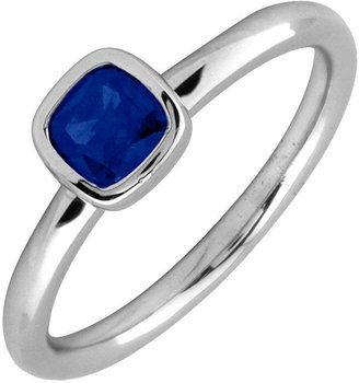 Simply Stacks Sterling & Cushion Cut Created-Sapphire Ring