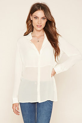 FOREVER 21 Contemporary Collared Chiffon Blouse $19.90 thestylecure.com