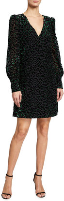 Milly Lylah Blouson-Sleeve Leopard Velvet Burnout Dress