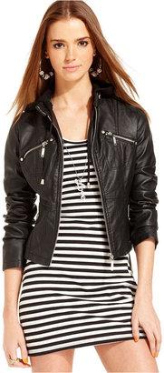 Jou Jou Juniors Jacket, Faux-Leather Hooded Motorcycle