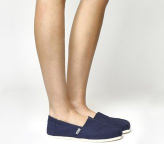 Toms Classic Slip Ons Navy Canvas