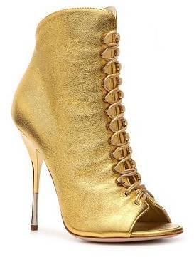 Giuseppe Zanotti Metallic Leather Peep Toe Bootie