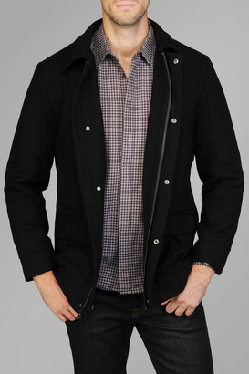 7 For All Mankind Melton Wool Jacket In Navy