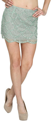 Arden B Scallop Beaded Mini Skirt
