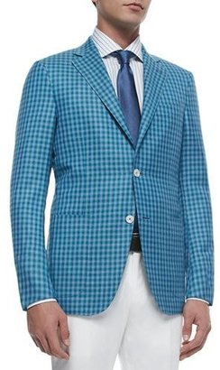 Ermenegildo Zegna Check Wool-Silk Two-Button Jacket, Blue $2,750 thestylecure.com