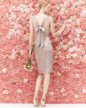 David Meister Sequined Cocktail Dress with Back Bow