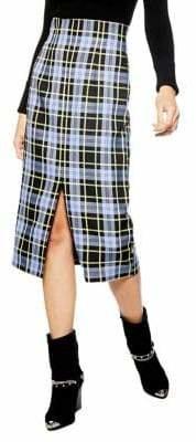 Topshop Pencil Check Midi Skirt